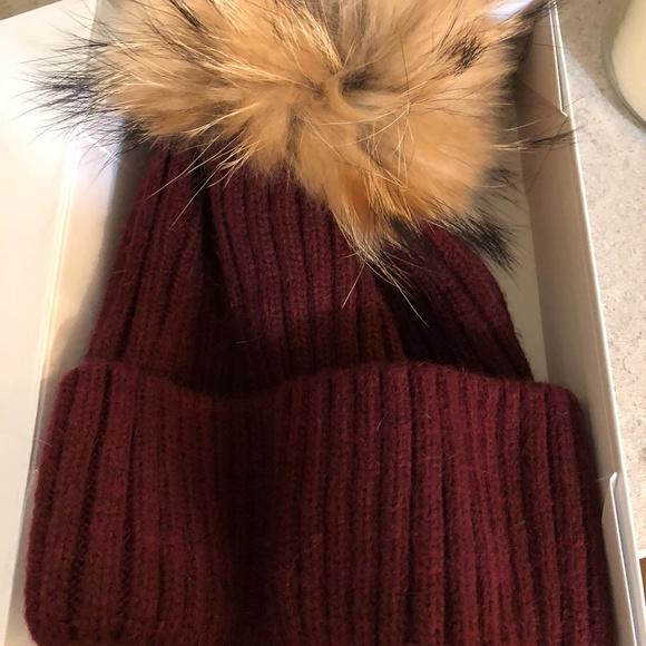 97a69bb26d680 Linda Richards Ribbed Knit Fur Pom Pom Hat Red